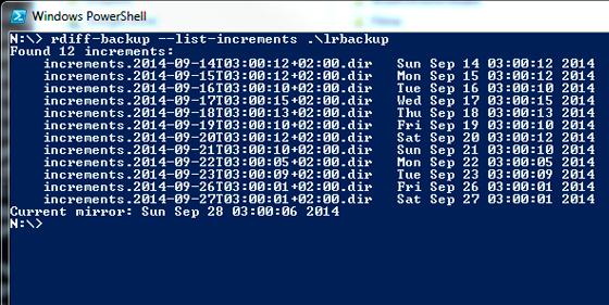 Liste der inkrementellen Versionen meines rdiff-backup