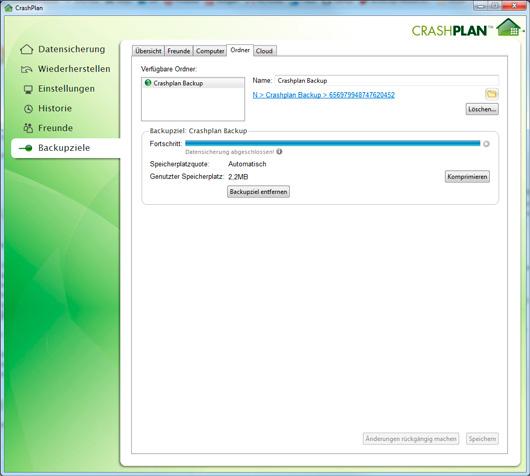 Crashplan Backup Screenshot