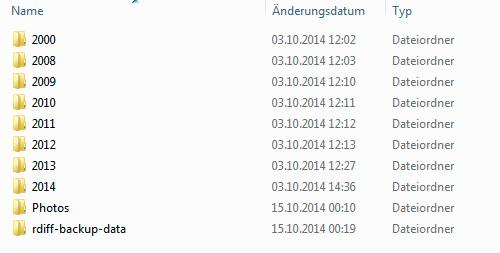 Screenshot meines rdiff-backup Ordners